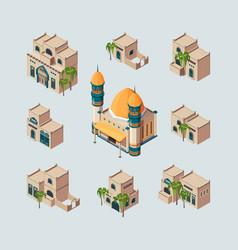 Traditional arabic buildings eastern sandy desert vector