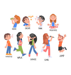 Verbs expressing actions set children education vector