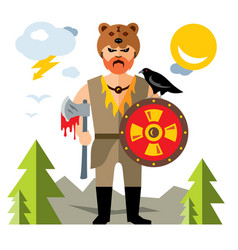viking flat style colorful cartoon vector image