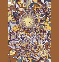 vintage background steampunk doodle style golden vector image