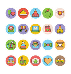 Wedding colored icons 5 vector