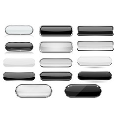 white and black glass 3d buttons with chrome frame vector image