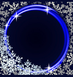 winter background with neon ring and snowflakes vector image