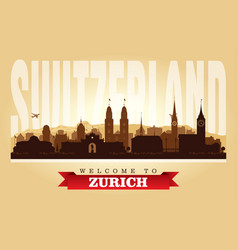 zurich switzerland city skyline silhouette vector image