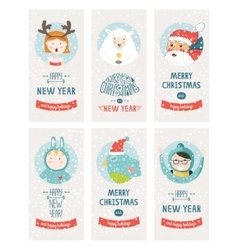 Christmas cards collection vector