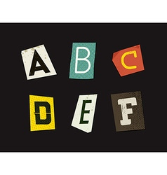 Colorful newspaper cut letters set vector