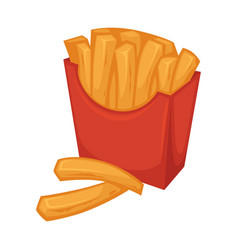delicious french fries in red smooth cardboard vector image vector image