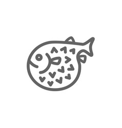 simple fugu fish line icon symbol and sign vector image vector image