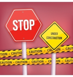 Stop Sign Website Under Construction vector image vector image
