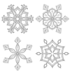Zentangle winter snowflakes set for Christmas New vector image