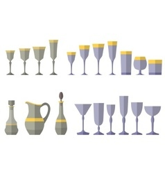 Crystal service of glass vector image