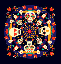 day of the dead sugar skull holiday background vector image vector image