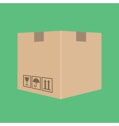 delivery box package cardboard with green vector image