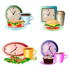 set of lunch break foods clocks and drinks vector image