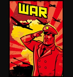 Soldier salute poster with war plane background vector