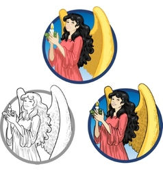 Beautiful Asian female angel with candle vector image vector image