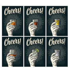 cheers lettering hand hold glass brandy tequila vector image vector image