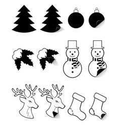 icons labels for christmas and new year black and vector image vector image
