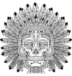 indian skull with jewelry vector image