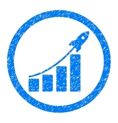 Rocket Startup Bar Chart Rounded Icon Rubber Stamp vector image