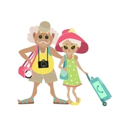 an Elderly Couple Traveling vector image
