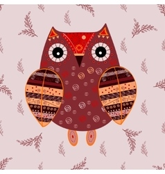 Cute owl with ethnic ornament vector image