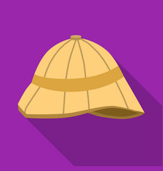 pith helmet icon in flat style isolated on white vector image