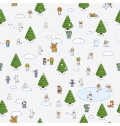 Pixel art christmas pattern vector image