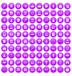 100 business strategy icons set purple vector image
