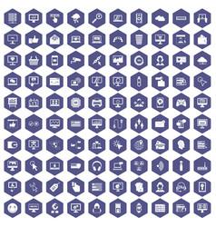 100 internet icons hexagon purple vector image
