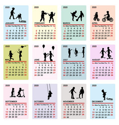 2020 colorful calendar with silhouettes of vector image