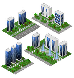 3d modern city building isometric eco city vector