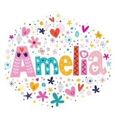 Amelia female name decorative lettering type vector