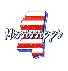 american flag in mississippi state map grunge vector image