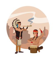 American indian ritual vector