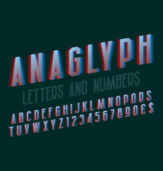 Anaglyph letters and numbers with currency signs vector