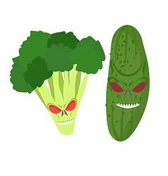Angry vegetables Wicked cucumber Ferocious vector