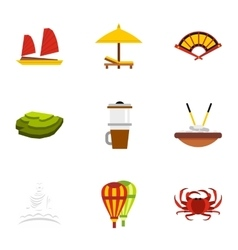 Attractions of Vietnam icons set flat style vector