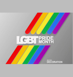 banner with volumetric text lgbt pride month vector image
