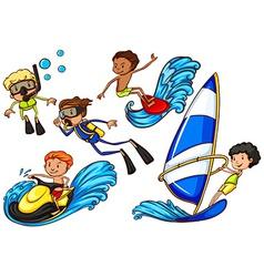 Boys enjoying the watersport activities vector image