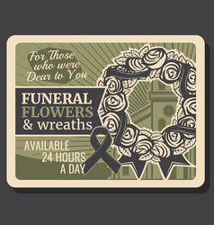 Burial funeral flowers and wreath service vector