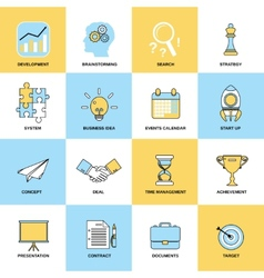 Business icons flat line set vector