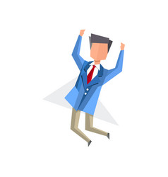 businessman happily jumping cartoon vector image