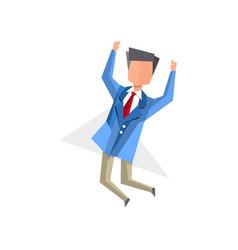 Businessman happily jumping cartoon vector