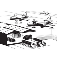 cargo terminal at airport vector image