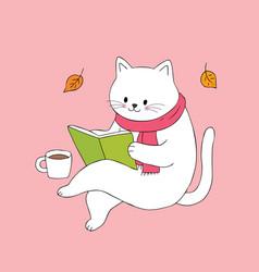 Cartoon cute cat reading book vector