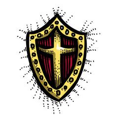 Cartoon image of shield icon shield symbol vector