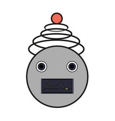 Cartoon robot head icon vector