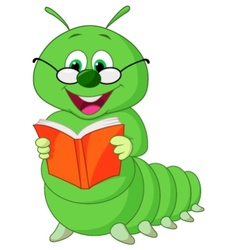 Caterpillar reading book vector
