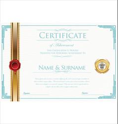 Certificate or diploma retro design template 5 vector
